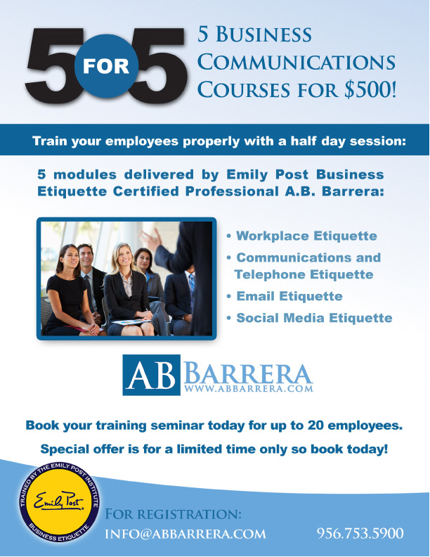 business communication and etiquettes course Beaumont etiquette's business etiquette classes are innovative and comprehensive business etiquette classes are available for individuals and companies.